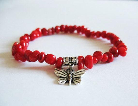 Butterfly Charm Bracelet / Read Bead Bracelet / Butterfly Bracelet / Red Coral Bracelet / Red Bracelet