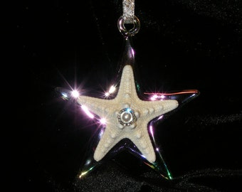 Clear Star Ornament with Knobby Starfish and Crystal Pearl Decoration. Great for Nautical Christmas tree or Beach Style celebration.