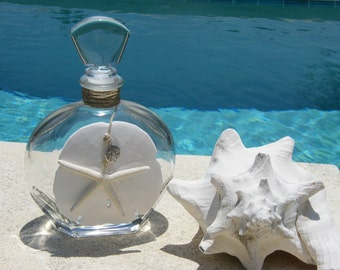 Unique Glass Bottle, Decanter,  with Starfish, pendant and huge Sand Dollar.
