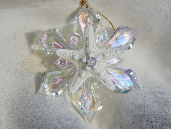 Clear Snowflake Ornament with Knobby Starfish and Crystal Pearl Decoration. Great for Christmas tree or Beac
