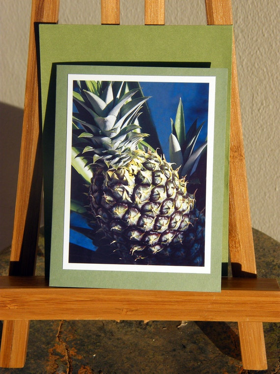 Pineapple Notecards - Sign of Welcome -  photograph on photo paper. Green card and envelope