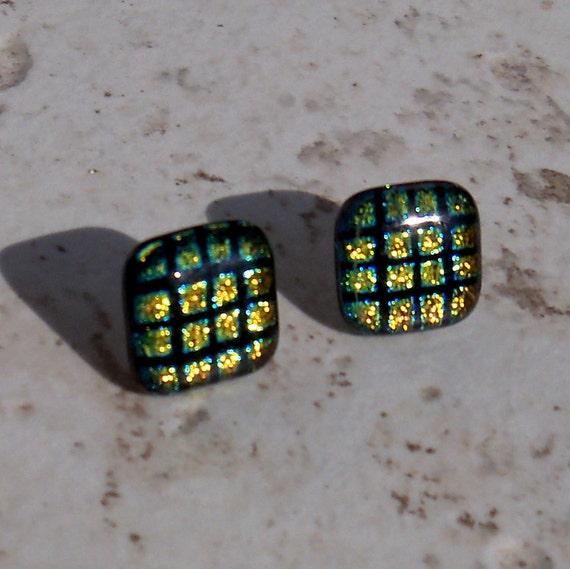 Gold & Black Dichro Post Earrings