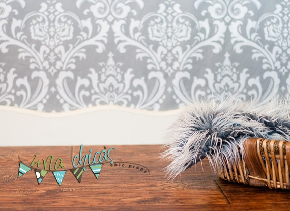 "Ready to Ship Photography Backdrop 52x54"" white on grey"