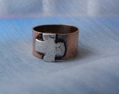 Rustic Copper Ring with Distressed  Silver Cross-----Simplistic Beauty.