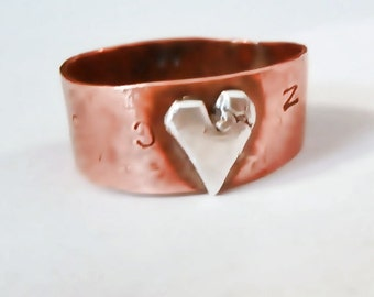Rustic, upcycled and repurposed Thumb Ring, Copper with Silver Heart, Thick, Comfortable, Brilliant Shine, Rustic OOAK