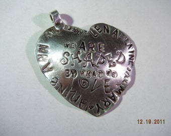 Personalized Jewelry Pendant reads We Are Shaped By What We Love.Large silver Heart Pendant w Children's Names