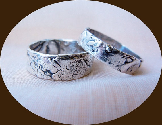 Rustic Silver Wedding Bands, Matching Mens and Womens Silver Wedding ...