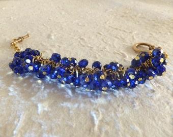 Navy Blue Crystal Beaded Bracelet