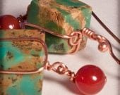 Natural Turquoise Cube Earrings With Carnelian & Copper