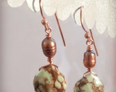 Faceted Chrysoprase Briolette Earrings With Copper Pearl
