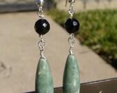 Mint Green Jasper Oblong Dangle Earrings With Silver