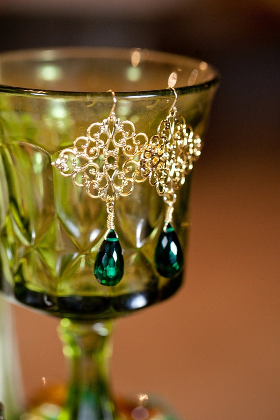 Lovely Semi-Precious Green Emerald Quartz Faceted Teardrop w Gold Cathedral Filigree Chandelier Earrings - Handcrafted
