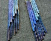 Boho Chic Blue Fringe Hand Painted Leather Earrings