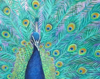 Flamboyant Peacock: Original Acrylic Painting On Stretched Canvas