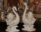 Vintage Pair of Fitz and Floyd Hollywood Regency or Chinoiserie Swan Candle Holders