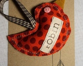 SALE 30% OFF Robin Christmas Decoration with Text and Red Spotty Fabric
