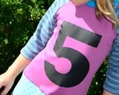 Upcycled Custom Birthday Number Dress Girls Play Knit Tee Shirt T Shirt Dress 2 3 4 5 6 7 8 9 10