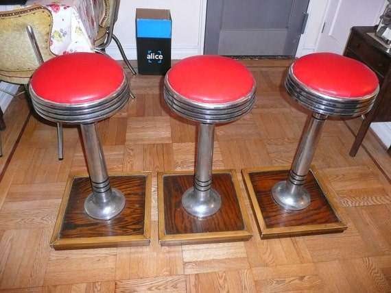 Vintage Chrome Soda Fountain Diner Luncheonette Bar Stools