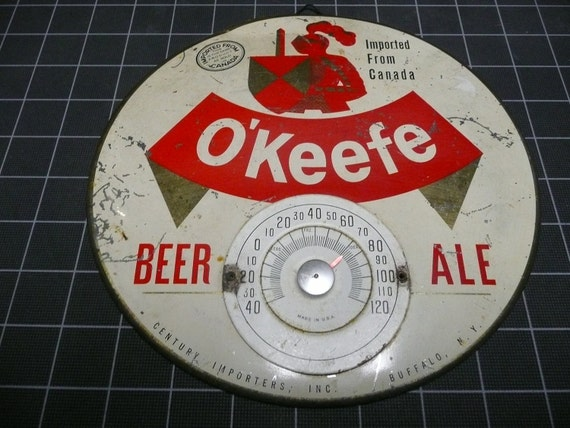 Vintage O'Keefe Beer Ale Thermometer Sign Canadian Canada Beer Bar Sign Breweriana Collectable Rare Advertising