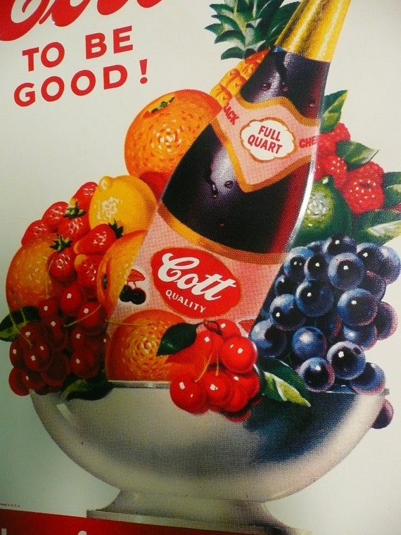Vintage Tin Cott Fruit Drink Soda Cola Metal Bottle Sign Stout Co. MO. Collectable Advertising Display