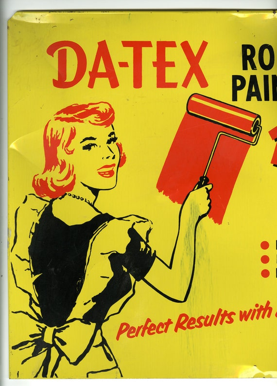 Da-Tex Roller Painters Display Sign Vintage Mad Men Advertising Collectable Americana Pin Up Housewife