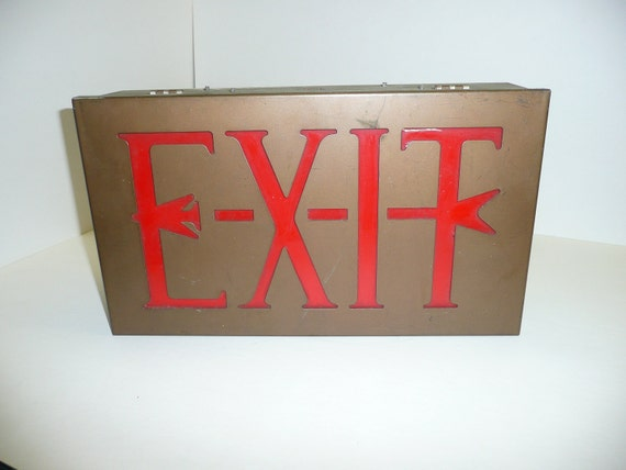 Exit Arrow Sign Vintage Industrial Original Authentic Awesome Iconography Americana Display Collectable Antique Steampunk