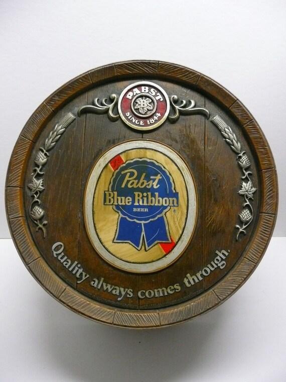 Pabst Blue Ribbon PBR Beer Bar Barrel Sign Vintage Breweriana Advertising Display Hipster Chic