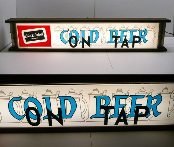 Carling Black Label Cold Beer On Tap Beer Bar Sign Light Display Collectable Breweriana Advertising Rare Large