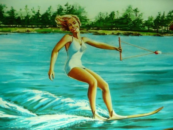 Burger Beer Water Ski Pin Up Woman Lighted Life Preserver Rings Sign Breweriana Advertising Super Rare Holy Grail Collectable Americana