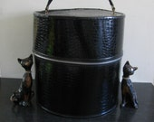Black faux alligator hat box