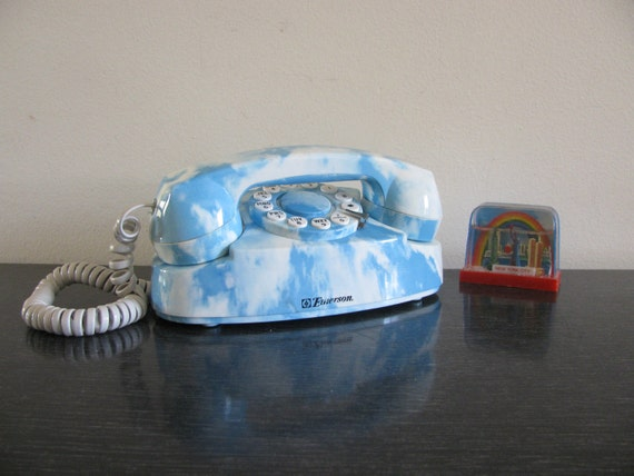 RESERVED for ThirstForRae: cloud print push button phone vintage 80s