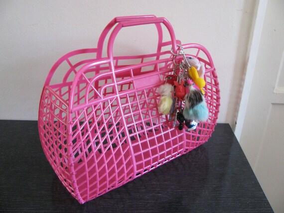 pink plastic basket purse vintage 80s