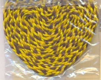 Miniature braided heart shaped rug. 1:12 scale , shades of yellow & brown, handmade