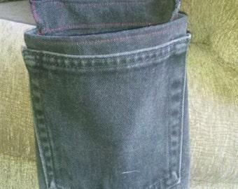 Crutch Pocket / Pouch  Recycled Denim Jean Pocket and fabric ( Black denim )