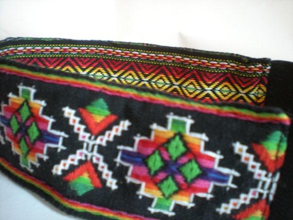 Reversible Black and Rainbow Aztec Southwestern Tribal Headband