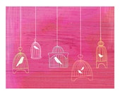 contemporary art giclee - old-fashioned bird cages - bright wire cages on hot pink - 8.5 x 11 archival print