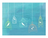 old-fashioned bird cages - bright wire cages on turquoise - 8.5 x 11 contemporary art print