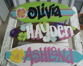 Made to Order - Hand Painted and Shaped 22 Inches x 6.5 Inches Wooden Surfboards for Wall or Party Decor