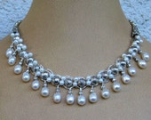 Necklace: Crocheted and Wire Wrapped with White Fresh Water Pearl Beads and Drop Pearls - Original with Free Shipping