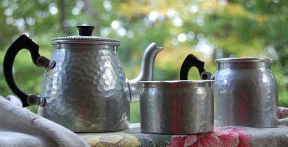 Reserved for Jan - Vintage Sona Ware Stratford On Avon Hammered Tin Tea Set
