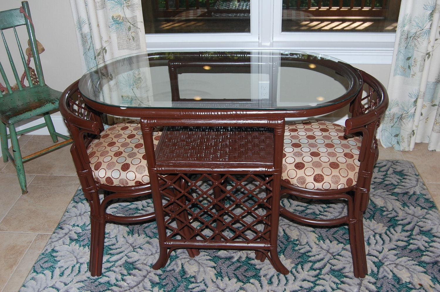Sale was vintage rattan dinette table and chairs for Kitchen dinette sets for sale