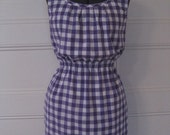 Tank-Style Dress in Purple and White Gingham with Elastic Waist