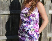 Tank-Style Dress in Purple Floral Print with Elastic Waist