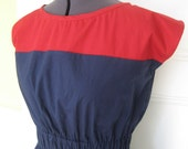 Navy & Red Color-Block Poplin Dress