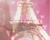 Pink Paris Art, Paris Photography, Pink Eiffel Tower Photo, Pink Paris Decor, Paris Hearts, Romantic Paris Decor
