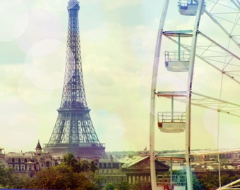 Paris Photography, Eiffel Tower Photography, Paris Carousel, Pastel, Eiffel Tower Bokeh, Ferris Wheel