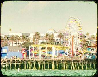 Ferris Wheel Photography, Santa Monica Pier, Retro Ferris Wheel Art Print, Vintage Look, Santa Monica