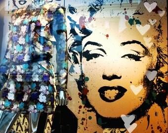 Marilyn Monroe Art Photography, Marilyn Monroe Print, Fine Art Photography, Bokeh Hearts, Fashion Art
