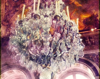 Chandelier Art, Chandelier Photography, Pink Chandelier, Versailles Hall of Mirrors Photography