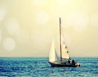 Sailing Photography, Sailboat Photography Art Print, Sailing Wall Art, Retro Ocean photography, Nautical Decor, Bokeh, Gift Idea men